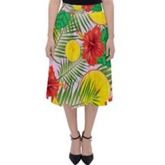 Orange Tropics Pink Folding Skater Skirt by snowwhitegirl