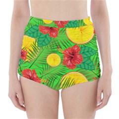 Orange Tropics Green High Waisted Bikini Bottoms