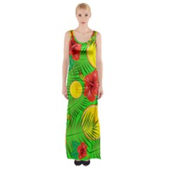 Orange Tropics Green Maxi Thigh Split Dress