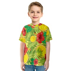 Orange Tropics Yellow Kids  Sport Mesh Tee