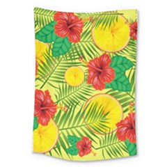 Orange Tropics Yellow Large Tapestry