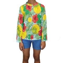 Orange Tropics Blue Kids  Long Sleeve Swimwear