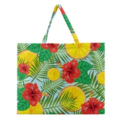 Orange Tropics Blue Zipper Large Tote Bag