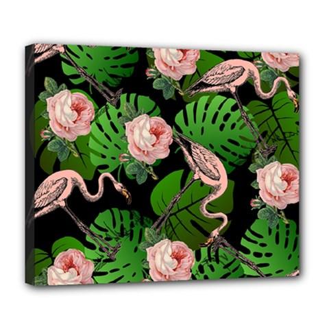 Flamingo Floral Black Deluxe Canvas 24  X 20