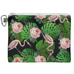 Flamingo Floral Black Canvas Cosmetic Bag (xxl) by snowwhitegirl