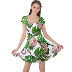 Flamingo Floral White Cap Sleeve Dress