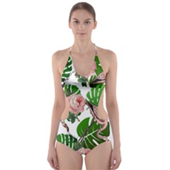 Flamingo Floral White Cut Out One Piece Swimsuit