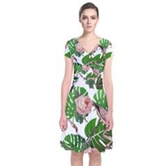 Flamingo Floral White Short Sleeve Front Wrap Dress