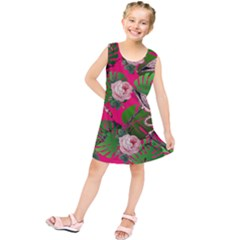 Flamingo Floral Pink Kids  Tunic Dress
