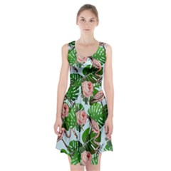 Flamingo Floral Blue Racerback Midi Dress