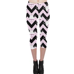 Pink Teapot Chevron Capri Leggings