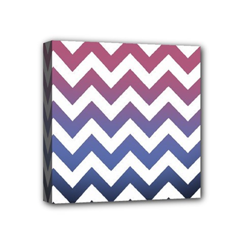 Pink Blue Black Ombre Chevron Mini Canvas 4  X 4