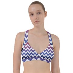 Pink Blue Black Ombre Chevron Sweetheart Sports Bra