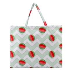 Watermelon Chevron Green Zipper Large Tote Bag