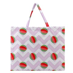 Watermelon Chevron Zipper Large Tote Bag