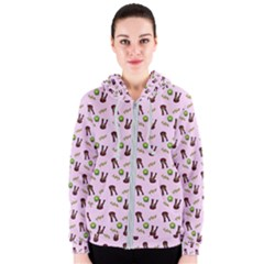 School Girl Pattern Pink Women s Zipper Hoodie