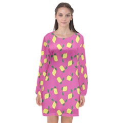 Lemons Pink Long Sleeve Chiffon Shift Dress