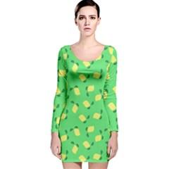 Lemons Green Long Sleeve Velvet Bodycon Dress