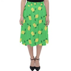 Lemons Green Folding Skater Skirt