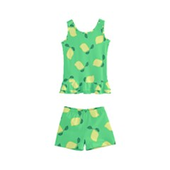 Lemons Green Kid s Boyleg Swimsuit