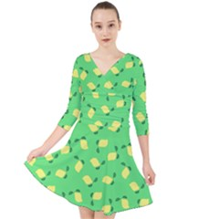 Lemons Green Quarter Sleeve Front Wrap Dress