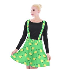 Lemons Green Suspender Skater Skirt