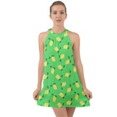 Lemons Green Halter Tie Back Chiffon Dress