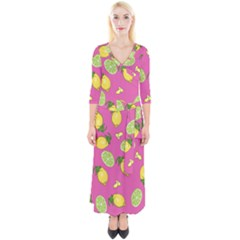 Lemons And Limes Pink Quarter Sleeve Wrap Maxi Dress