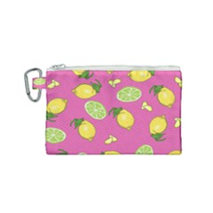Lemons And Limes Pink Canvas Cosmetic Bag (small)