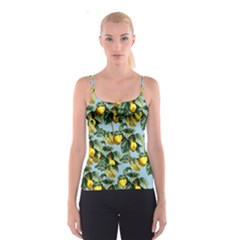 Fruit Branches Blue Spaghetti Strap Top