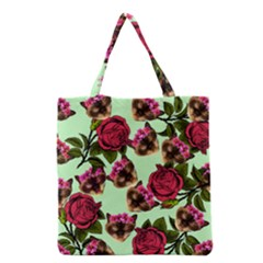 Lazy Cat Floral Pattern Green Grocery Tote Bag