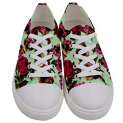 Lazy Cat Floral Pattern Green Women s Low Top Canvas Sneakers