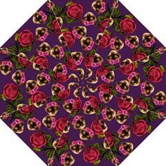 Lazy Cat Floral Pattern Purple Hook Handle Umbrellas (large)