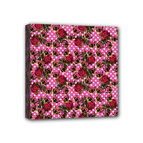 Lazy Cat Floral Pattern Pink Polka Mini Canvas 4  X 4