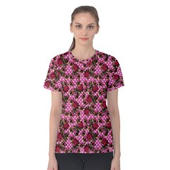 Lazy Cat Floral Pattern Pink Polka Women s Cotton Tee