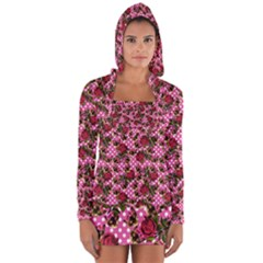 Lazy Cat Floral Pattern Pink Polka Long Sleeve Hooded T Shirt