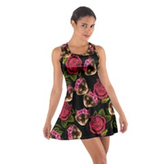 Lazy Cat Floral Pattern Black Cotton Racerback Dress