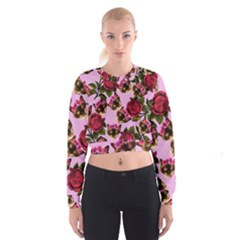 Lazy Cat Floral Pattern Pink Cropped Sweatshirt