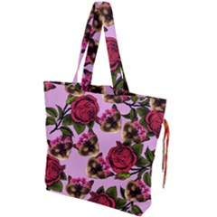 Lazy Cat Floral Pattern Pink Drawstring Tote Bag by snowwhitegirl