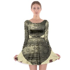 Vintage Air Balloon With Roses Long Sleeve Skater Dress