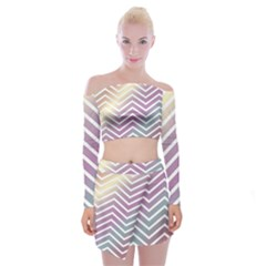 Ombre Zigzag 01 Off Shoulder Top With Mini Skirt Set