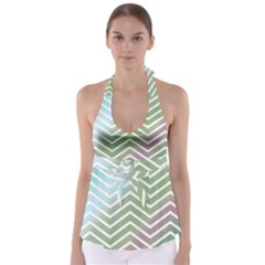 Ombre Zigzag 02 Babydoll Tankini Top