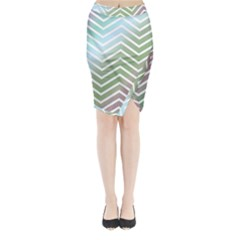 Ombre Zigzag 02 Midi Wrap Pencil Skirt