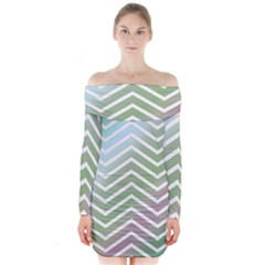 Ombre Zigzag 02 Long Sleeve Off Shoulder Dress