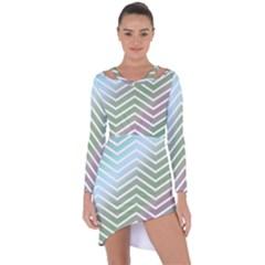 Ombre Zigzag 02 Asymmetric Cut Out Shift Dress