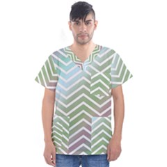 Ombre Zigzag 02 Men s V Neck Scrub Top