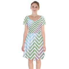 Ombre Zigzag 02 Short Sleeve Bardot Dress