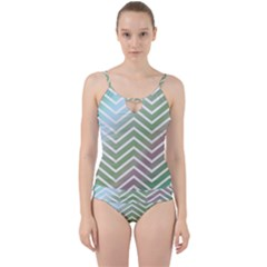 Ombre Zigzag 02 Cut Out Top Tankini Set