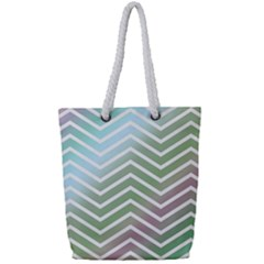 Ombre Zigzag 02 Full Print Rope Handle Tote (small)