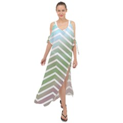 Ombre Zigzag 02 Maxi Chiffon Cover Up Dress